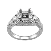 18K White Gold Diamond Engagement Setting.